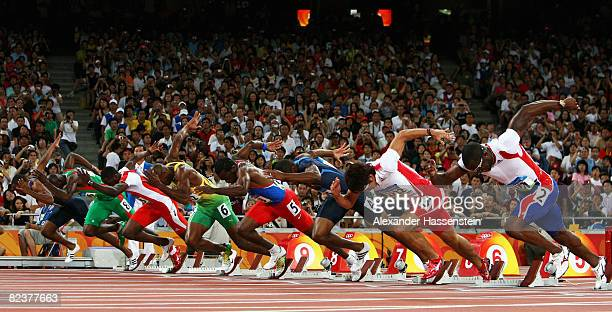 The athletes start the Men's 100m Semi Final 2 at the National Stadium on Day 8 of the Beijing 2008 Olympic Games on August 16 2008 in Beijing China