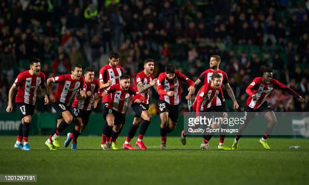 The Athletic Club players celebrate after beating Elche CF 6 - 5 on Penalties during the Copa del Rey round of 32 match between Elche CF and Athletic...