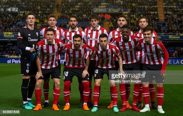 The Athletic club team line up for a photo prior to kick off during the La Liga match between Villarreal and Athletic Club at Estadio de La Ceramica...