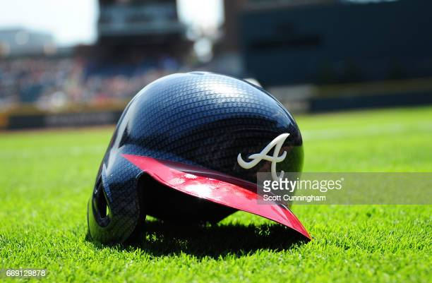 The Atlanta Braves new carbon fiber pattern helmet is on display before the game against the San Diego Padres at SunTrust Park on April 16 2017 in...