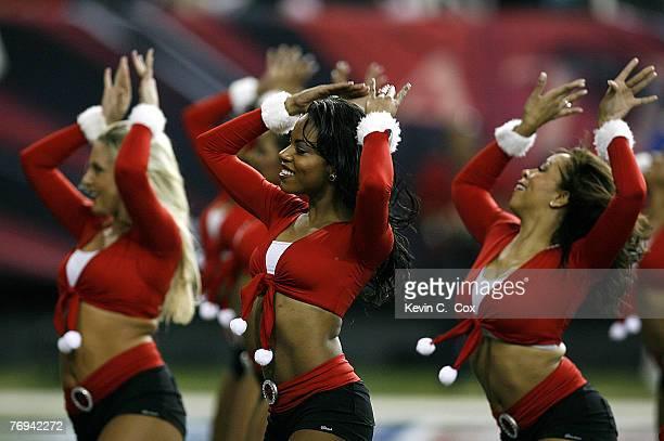 The Atlanta cheerleaders perform during the first half of the Falcons 103 loss to Carolina Sunday December 24 at the Georgia Dome in Atlanta Georgia