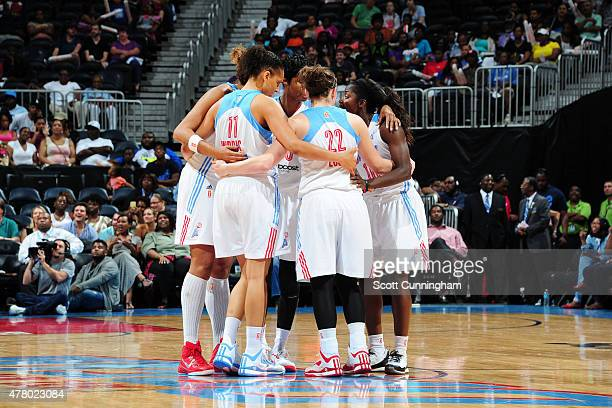 The Atlanta Dream huddle during a game against the New York Liberty at Philips Center on June 21 2015 in Atlanta GA NOTE TO USER User expressly...