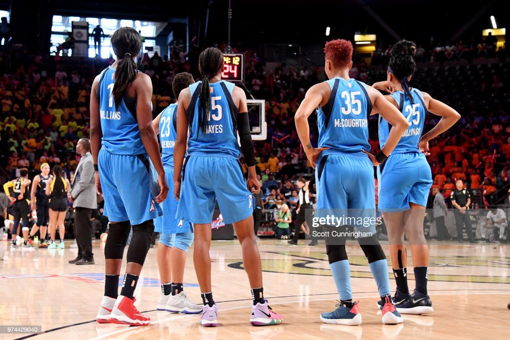 the Atlanta Dream looks on during the game against the Indiana Fever on June 14, 2018 at Hank McCamish Pavilion in Atlanta, Georgia.