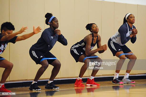 The Atlanta Dream stretch during an open practice on September 14 2016 in Austell Georgia at the Riverside Epi Center NOTE TO USER User expressly...