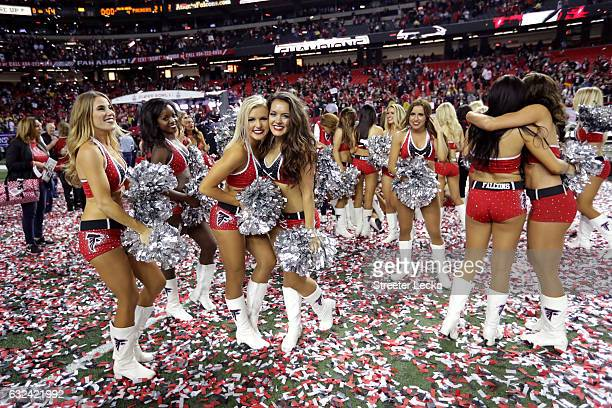 The Atlanta Falcons cheerleaders celebrate after defeating the Green Bay Packers in the NFC Championship Game at the Georgia Dome on January 22 2017...