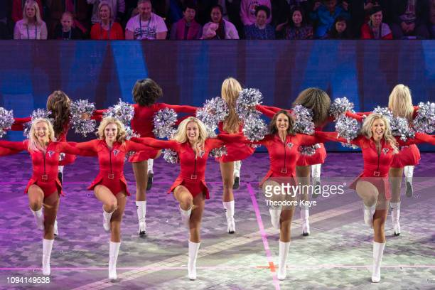 The Atlanta Falcons Cheerleaders from the US perform at the opening of the Cathay Pacific International Chinese New Year Night Parade on February 5...