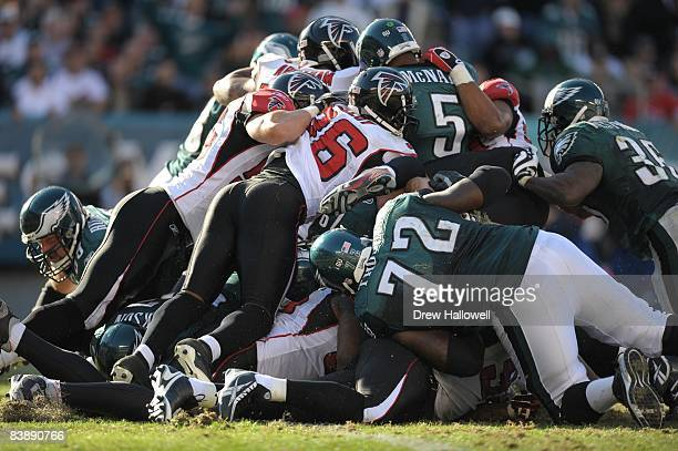 The Atlanta Falcons defense stops quarterback Donovan McNabb of the Philadelphia Eagles during a goal line stand on October 26, 2008 at Lincoln...