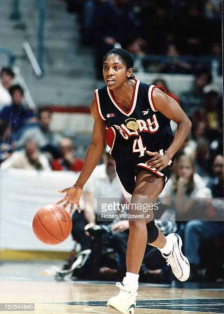 The Atlanta Glory's Teresa Edwards of the American Basketball League brings the ball upcourt in a game against the New England Blizzard Springfield...