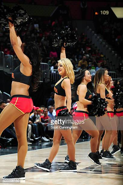 The Atlanta Hawks cheerleaders perform during the game against the Portland Trail Blazers on December 21 2015 at Philips Arena in Atlanta Georgia...