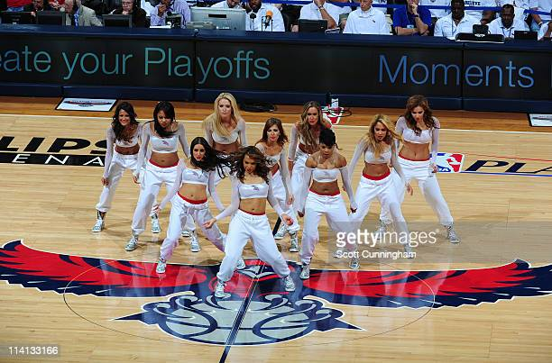 The Atlanta Hawks dance team entertains the crowd during a timeout against the Chicago Bulls during Game Six of the Eastern Conference Semifinals in...