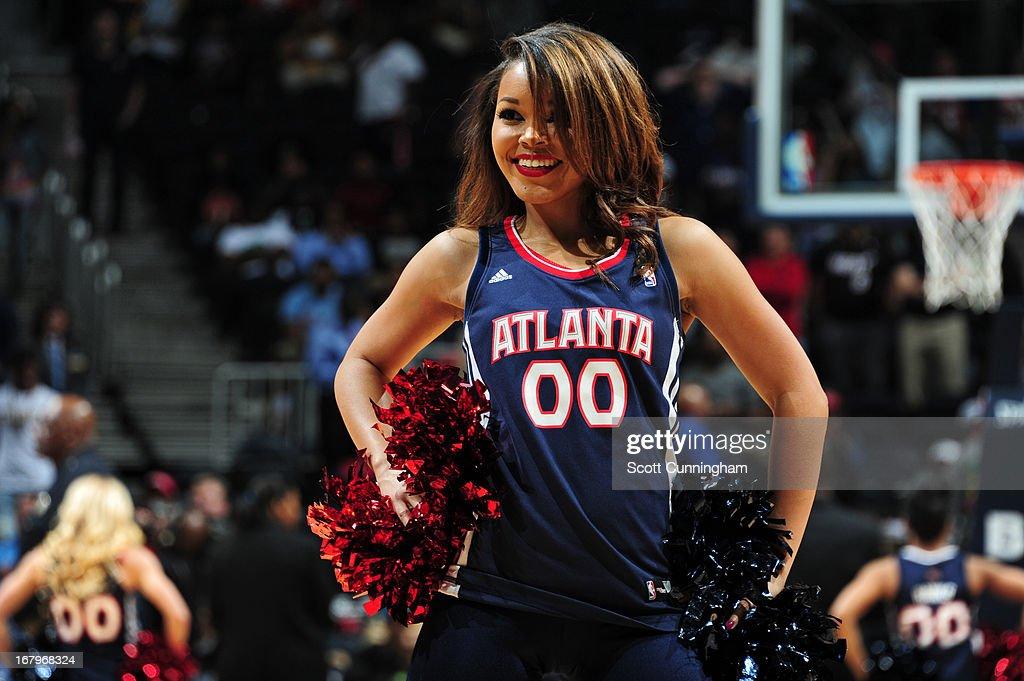 The Atlanta Hawks dance team performs during the game against the Toronto Raptors on April 16, 2013 at Philips Arena in Atlanta, Georgia.
