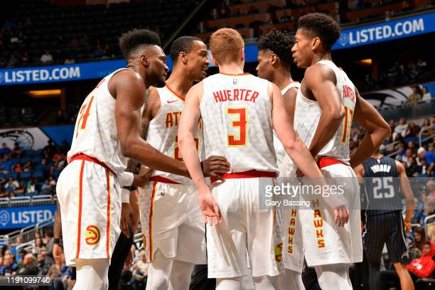The Atlanta Hawks huddle up during the game against the Orlando Magic on December 30, 2019 at Amway Center in Orlando, Florida. NOTE TO USER: User...