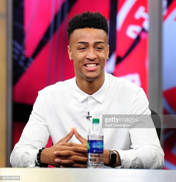 The Atlanta Hawks introduces new draft picks John Collins Tyler Dorsey and Alpha Kaba during a Press Conference on June 26 2017 at Fox Studios in...