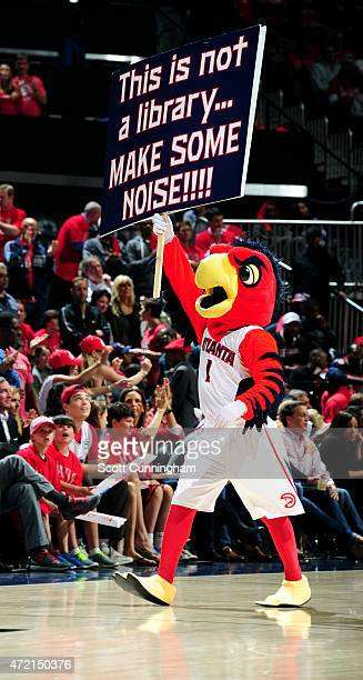 The Atlanta Hawks mascot performs during a game against the Brooklyn Nets in Game Five of the Eastern Conference Quarterfinals during the 2015 NBA...