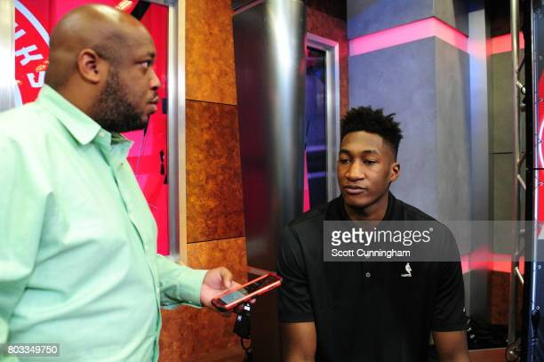 The Atlanta Hawks new draft picks Alpha Kaba talks to the media during a Press Conference on June 26 2017 at Fox Studios in Atlanta Georgia NOTE TO...