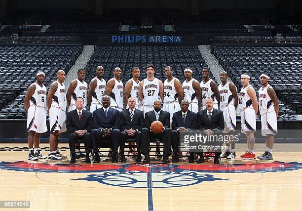 The Atlanta Hawks pose for 200910 Team Photo on April 27 2010 at Philips Arena in Atlanta Georgia NOTE TO USER User expressly acknowledges and agrees...
