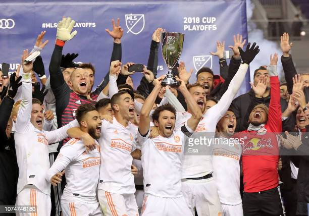 The Atlanta United FC celebrate their win of the Eastern Conference Finals Leg 2 match against the New York Red Bulls at Red Bull Arena on November...