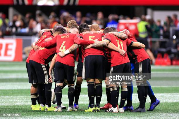 The Atlanta United FC huddles prior to the MLS Cup between the Atlanta United FC and the Portland Timbers on December 8 2018 at the MercedesBenz...