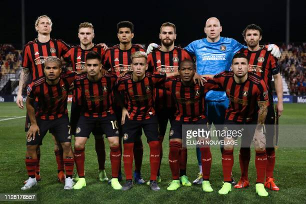 The Atlanta United team poses during the CONCACAF Champions League playoff football match between Atlanta United and Herediano at the Fifth Third...