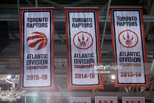 The Atlantic Division banner is now hanging with no acknowledgment and no ceremony Toronto Raptors vs Philadelphia 76ers in 1st half action of the...