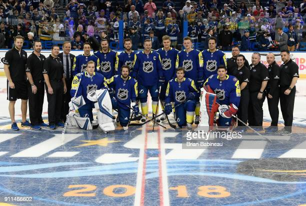 The Atlantic Division team poses for a photo prior to the 2018 Honda NHL AllStar Game at Amalie Arena on January 28 2018 in Tampa Florida