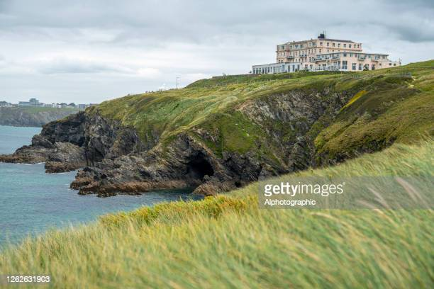the atlantic hotel, newquay - newquay stock pictures, royalty-free photos & images
