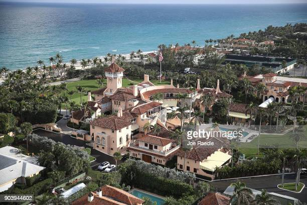 The Atlantic Ocean is seen adjacent to President Donald Trump's beach front MaraLago resort also sometimes called his Winter White House the day...