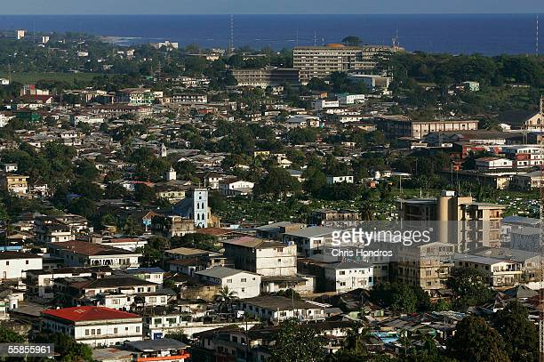 The Atlantic Ocean is seen behind the skyline on October 5, 2005 in Monrovia, Liberia. Liberian elections are to be held on October 11, the country's...