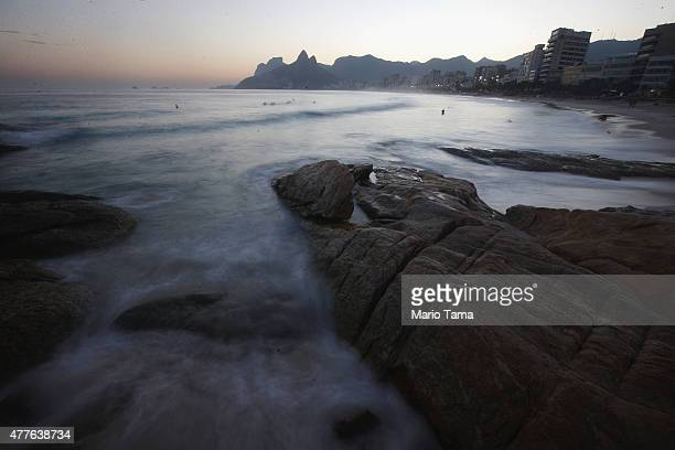 The Atlantic Ocean washes up at Arpoador rock on June 18 2015 in Rio de Janeiro Brazil Pope Francis' encyclical on climate change 'Laudato Si' calls...