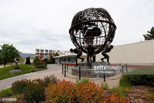 The atlas sculpture apart of the Carol Grotnes Belk Sculpture Garden seen outside the United States Olympic Training Center on May 14 2015 in...