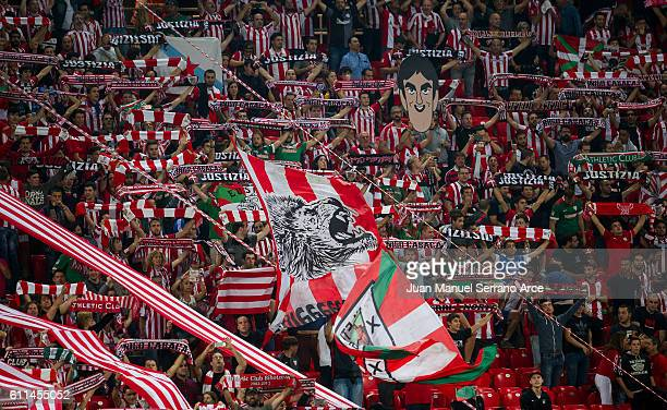 The Atletic Bilbao fans cheer on their team during the UEFA Europa League group F match between Athletic Club and SK Rapid Wien at the Estadio de San...