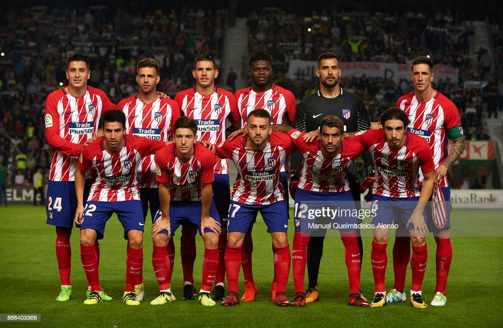The Atletico de Madrid team line up for a photo prior to kick off during the Copa del Rey first leg match between Elche CF and Atletico de Madrid at Estadio Martinez Valero on October 25, 2017 in Elche, Spain.
