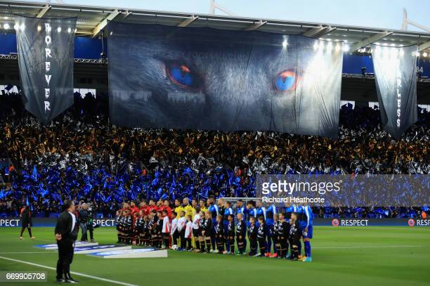 The Atletico Madrid and Leicester City teams line up prior to the UEFA Champions League Quarter Final second leg match between Leicester City and...