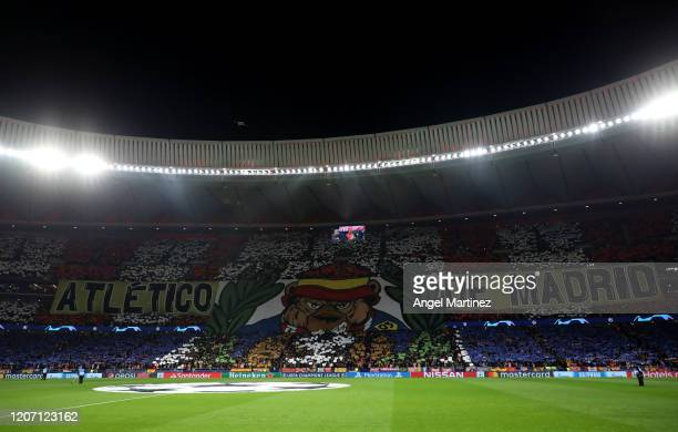 The Atletico Madrid fans create a tifo prior to the UEFA Champions League round of 16 first leg match between Atletico Madrid and Liverpool FC at...