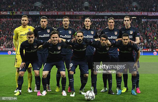 The Atletico Madrid team line up prior to UEFA Champions League semi final second leg match between FC Bayern Muenchen and Club Atletico de Madrid at...