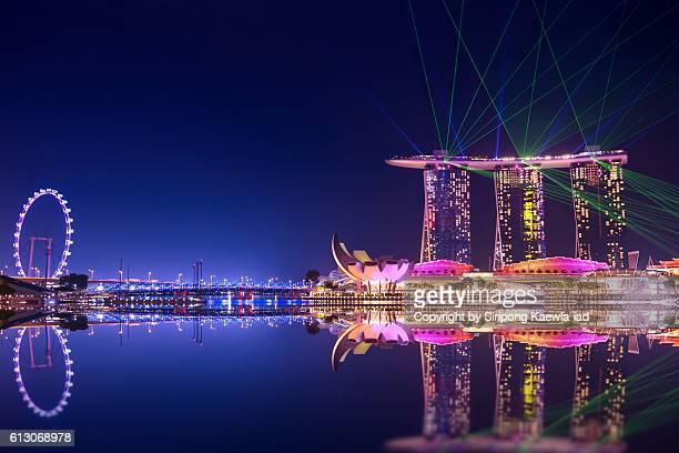 The atmosphere around the Marina Bay at night