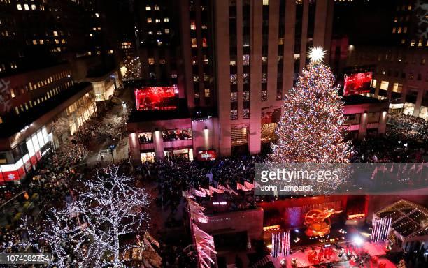 The atmosphere at the 86th Annual Rockefeller Center Christmas Tree Lighting Ceremony at Rockefeller Center on November 28, 2018 in New York City.