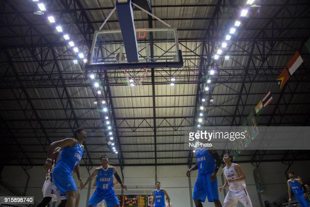 The atmosphere of basketball qualifying match 18th Asian Games Invitation Tournament between India against Thailand at Hall Basket Senayan Jakarta...