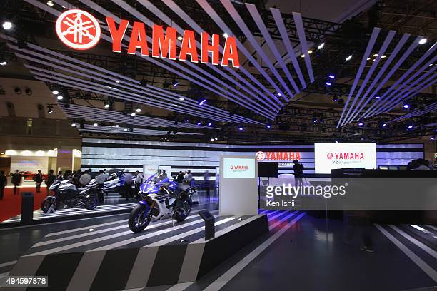 The atmosphere of the Yamaha Motor Co LTD booth during the Tokyo Motor Show 2015 at Tokyo Big Sight on October 28 2015 in Tokyo Japan