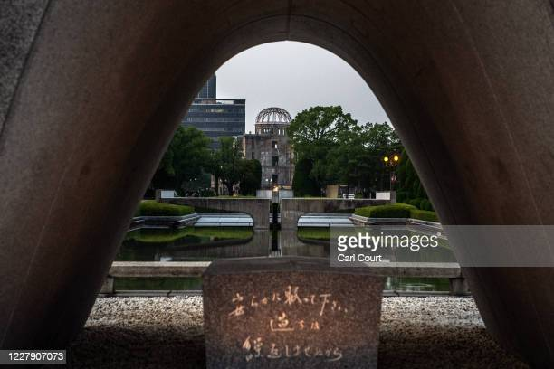The Atomic Bomb Dome is pictured through the Hiroshima Victims Memorial Cenotaph on August 4, 2020 in Hiroshima, Japan. This Thursday will mark the...