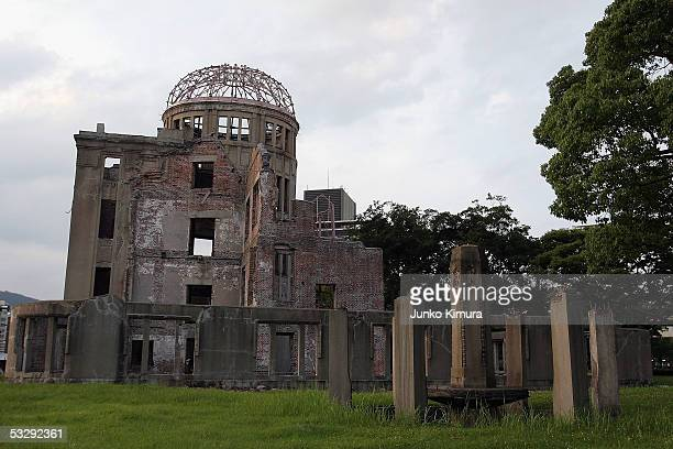 The Atomic Bomb Dome is seen ahead of the 60th anniversary of the dropping of the first atomic bomb at the Hiroshima Peace Memorial Park on July 27...