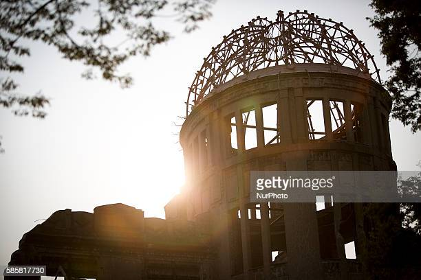 The Atomic Bomb Dome is seen at sunset in the Hiroshima Peace Memorial Park two days prior to 71st anniversary of the bombing in Hiroshima western...