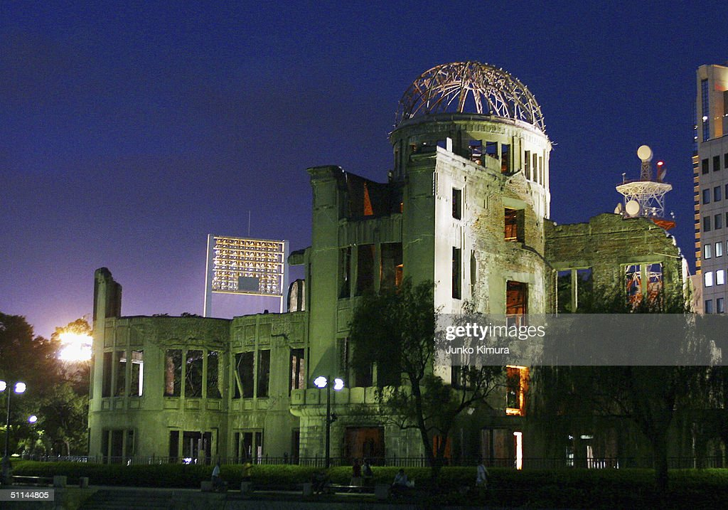 The Atomic Bomb Dome is seen in the evening of August 5, 2004 in Hiroshima, Japan. Tomorrow Hiroshima will mark the 59th anniversary of the dropping of the first atomic bomb in Hiroshima at the Hiroshima Peace Memorial Park.
