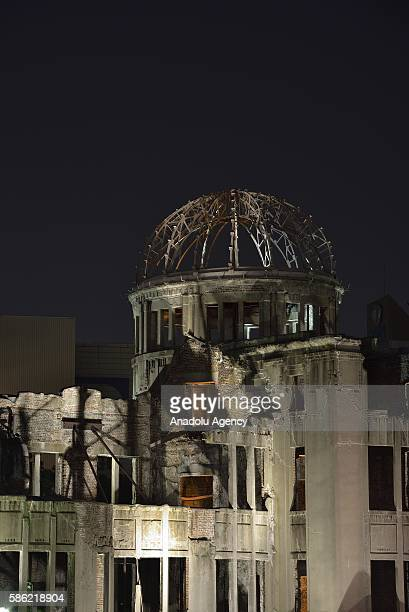 The Atomic Bomb Dome is seen next to the Hiroshima Peace Memorial Park in Hiroshima Japan on August 06 2016 People will attend the ceremony at the...