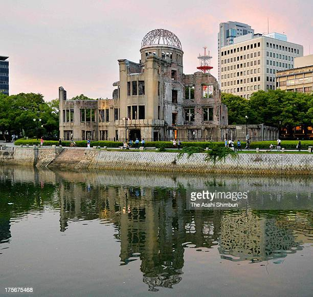 The Atomic Dome is seen a day before the 68th anniversary of the atomic bombing of Hiroshima on August 5 2013 in Hiroshima Japan Japan marks the 68th...