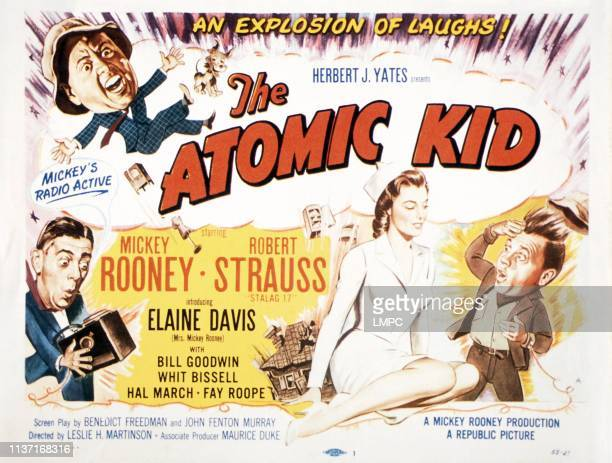 The Atomic Kid poster Mickey Rooney bottom from left Robert Strauss Elaine Devry Mickey Rooney 1954