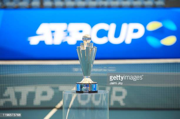The ATP Cup trophy during a media opportunity at Ken Rosewall Arena on December 30 2019 in Sydney Australia