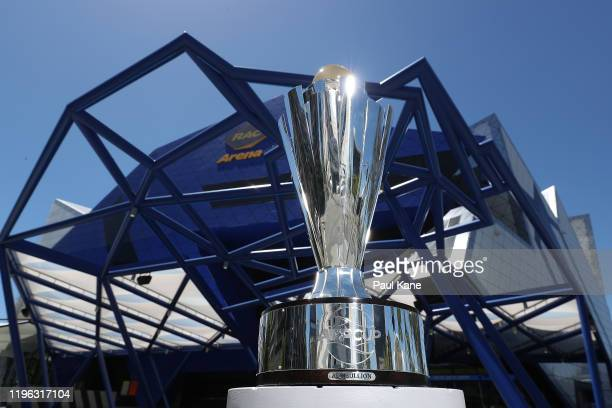 The ATP trophy is seen at RAC Arena ahead of the Perth ATP Cup on December 28 2019 in Perth Australia