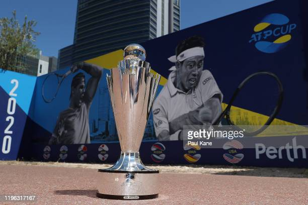 The ATP trophy is seen in the Yagan Square Walkway ahead of the Perth ATP Cup on December 28 2019 in Perth Australia