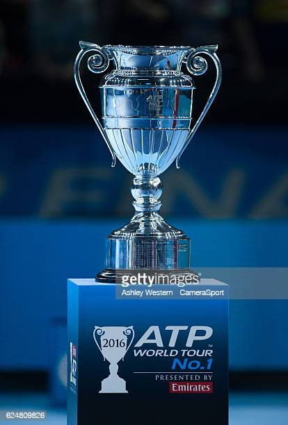 The ATP World Tour No1 Trophy on display after the Andy Murray / Novak Djokovic mens singles Final match on day eight of the ATP World Tour Finals at...